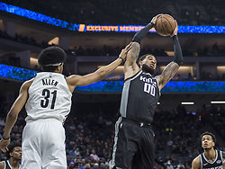 March 1, 2018 - Sacramento, CA, USA - The Sacramento Kings' Willie Cauley-Stein (00) takes a defensive rebound against the Brooklyn Nets' Jarrett Allen (31) in the first half at the Golden 1 Center in Sacramento, Calif., on Thursday, March 1, 2018. (Credit Image: © Hector Amezcua/TNS via ZUMA Wire)
