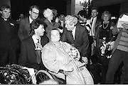 Bob Geldof Receives F.A.O.Medal..1986..16.10.1986..10.16.1986..16th October 1986..The highlight of Gorta's 21st anniversary World Food Day was the presentation of an F.A.O.(Food and Agriculture Organisation of the United Nations) to Bob Geldof. The medal was presented by An Taoiseach,Dr Garret Fitzgerald. The medal was in recognition of Bob's efforts and contribution towards famine relief in the Third World. The ceremony took place in The Berkeley Court Hotel in Dublin...Pictured ,sharing a story, is Bob Geldof, An Taoiseach,Dr Garret Fitzgerald and An Taoiseach's wife Joan.