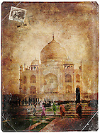 Taj Mahal, Agra, India - Forgotten Postcard digital art collage