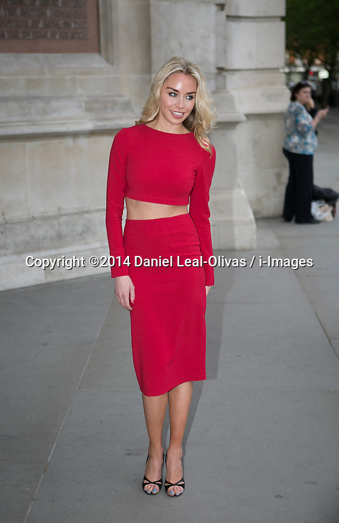 Wedding Dresses private view Arrivals. Noelle Reno arrives at the private view of new exhibition looking at how wedding dresses have changed over the years. Victoria & Albert Museum, London, United Kingdom. Wednesday, 30th April 2014. Picture by Daniel Leal-Olivas / i-Images