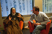 January 10, 2012, Damascus, Syria. French television journalist Gilles Jacquier in his hotel in Syria during a meeting with sister Agnes who invited a groupe of western journalists to the country.<br /> <br /> 10 janvier 2012, Damascus, Syrie. Le journaliste Gilles Jacquier dans son hotel durant une réunion avec la soeur Agnes qui a invité un  groupe de journalistes étrangers en Syrie.