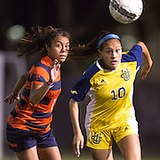 November 2, 2016; UC Irvine player Jessica Miclat (10) and Cal State Fullerton forward Connie Caliz (7) battle for the ball Fullerton College vs UC Irvine Womens Soccer Semi Final at Big West Conference at LBSU ; Long Beach, CA;  <br /> © photo by Catharyn Hayne/Sport Shooter Academy