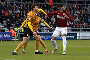 Vadaine Oliver competes for the ball during the EFL Sky Bet League 2 match between Northampton Town and Crewe Alexandra at the PTS Academy Stadium, Northampton, England on 16 November 2019.
