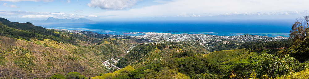 Panorama of Papeete, Tahiti French Polynesia from the Belvedere. Moorea island is in the left distance.