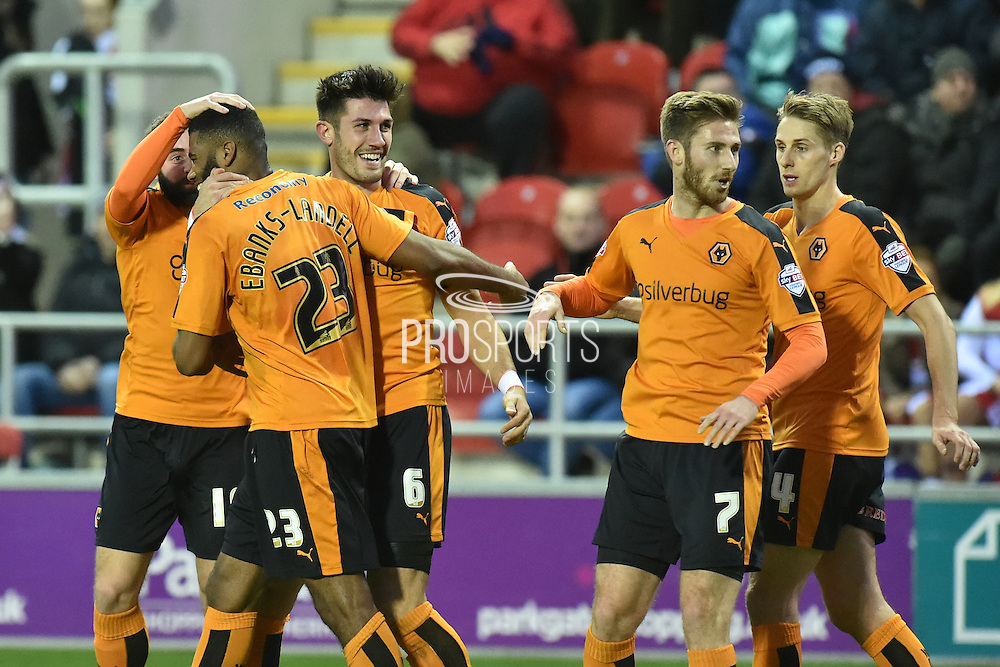 wolves celebrate going 2-1 up from Wolverhampton Wanderers defender Danny Batth scoring  during the Sky Bet Championship match between Rotherham United and Wolverhampton Wanderers at the New York Stadium, Rotherham, England on 5 December 2015. Photo by Ian Lyall.