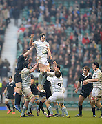Twickenham. UK.   Cambridge's, Nick VILJOEN collects and redirects, the line out ball, during  the 2013 Varsity Rugby Match,  Final score Oxford, defeating Cambridge,  33 - 15 on    Thursday  12/12/2013, at the RFU Stadium.  Surrey, England  [Mandatory Credit. Peter Spurrier/Intersport Images]