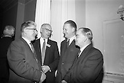 05/05/1965<br /> 05/05/1965<br /> 05 May 1965<br /> Thomas Heiton and Co. Ltd. Reception  to promote stainless steel in manufacturing at the Shelbourne Hotel, Dublin. Pictured at the reception were (l-r): Mr. C.E. Forrester, Chief Engineer A.P.V. Deseo; Mr. E.S. Usher, Director and Manager (iron and steel) Thomas Heiton and Co.; Mr. T.E. Flower, Manager sheet metal and foundry department (Thomas Docknell); Mr. P.E.W. Burgess, Director and Manager, Hammond Lane Industries Ltd.. Thomas Heiton and Co. were agents for steel produced by Samuel Fox and Co. Ltd., Sheffield, England.