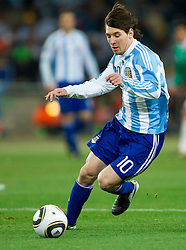 Lionel Messi of Argentina during the 2010 FIFA World Cup South Africa Round of Sixteen match between Argentina and Mexico at Soccer City Stadium on June 27, 2010 in Johannesburg, South Africa. Argentina defeated Mexico 3-1 and qualified for quarterfinals. (Photo by Vid Ponikvar / Sportida)