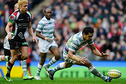 London Irish Number 8 (#8) Chris Hala'Ufia touches the ball down behind his own tryline during the first half of the match - Photo mandatory by-line: Rogan Thomson/JMP - Tel: Mobile: 07966 386802 29/12/2012 - SPORT - RUGBY - Twickenham Stadium - London. Harlequins v London Irish - Aviva Premiership - LV= Big Game 5.