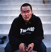 Skateboarder Ted Kim in Anchorage, Alaska. 2009