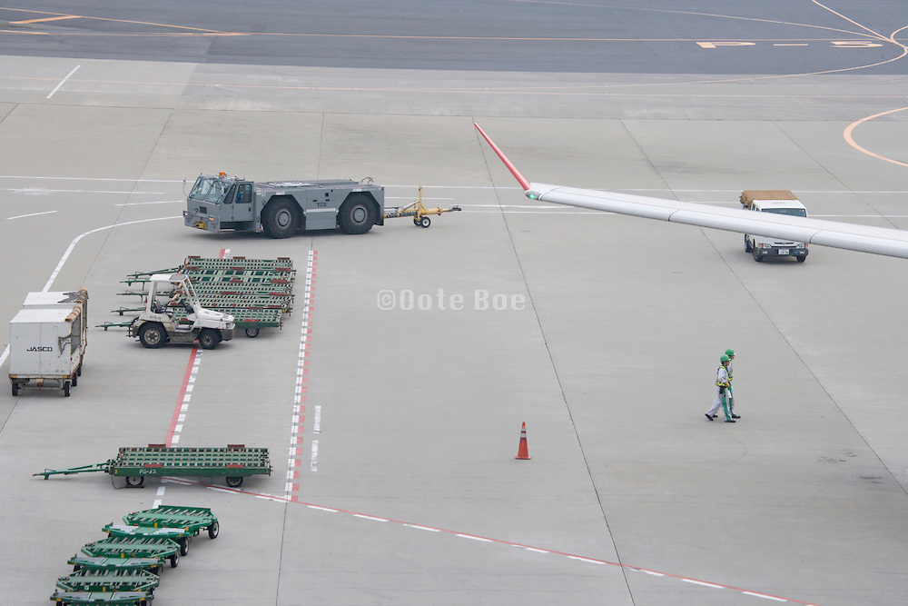 Narita airport Japan wing of airplane standing at the gate