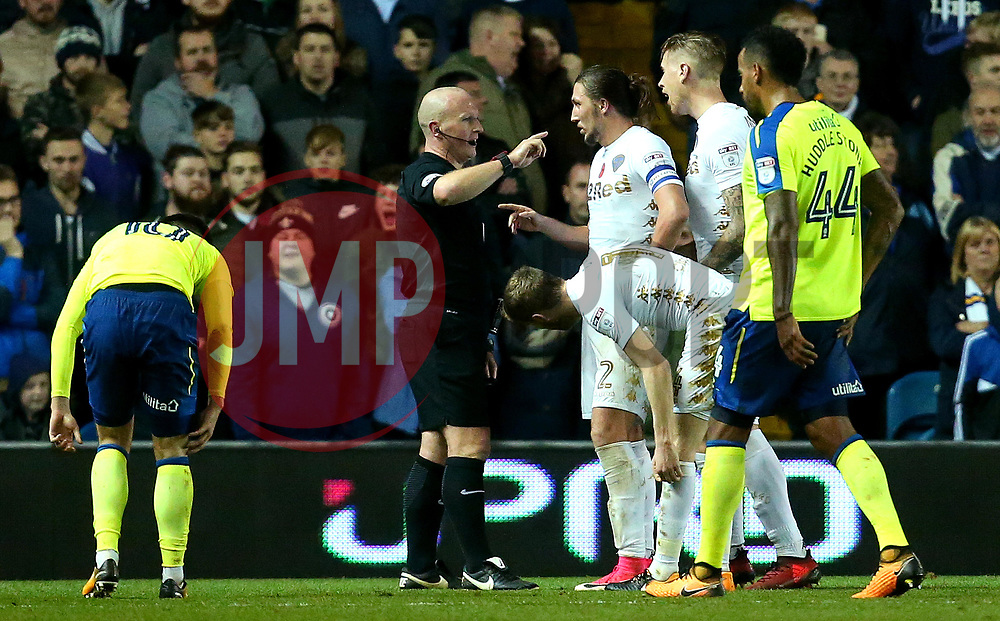 Leeds United argue with the referee after a penalty is awarded against them - Mandatory by-line: Robbie Stephenson/JMP - 31/10/2017 - FOOTBALL - Elland Road - Leeds, England - Leeds United v Derby County - Sky Bet Championship