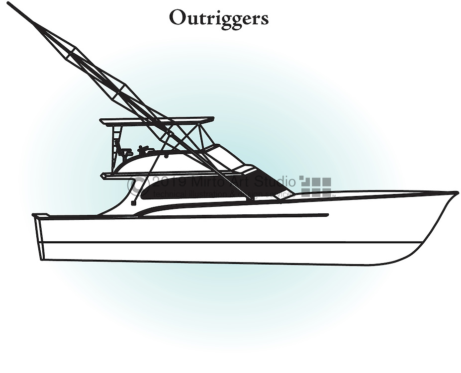 A vector illustration for fishing boat Outriggers.