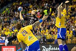 Arber Qerimi of HC PPD Zagreb during handball match between RK Celje Pivovarna Lasko (SLO) and HC PPD Zagreb (CRO) in Group phase of VELUX EHF Men's Champions League 2018/19, November 18, 2018 in Arena Zlatorog, Celje, Slovenia. Photo by Urban Urbanc / Sportida