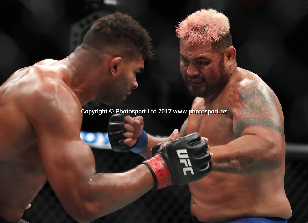 UFC 209<br /> Alistair Overeem third round knockout victory over Mark Hunt<br /> Heavyweight bout <br /> March 4, 2017 at T-Mobile Arena in<br /> Las Vegas, Nevada<br /> Copyright photo: Tom Hogan / www.photosport.nz