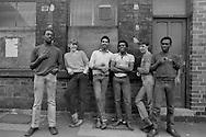 Cutlery workers take a break, Sydney Street Sheffield 1983. © Martin Jenkinson