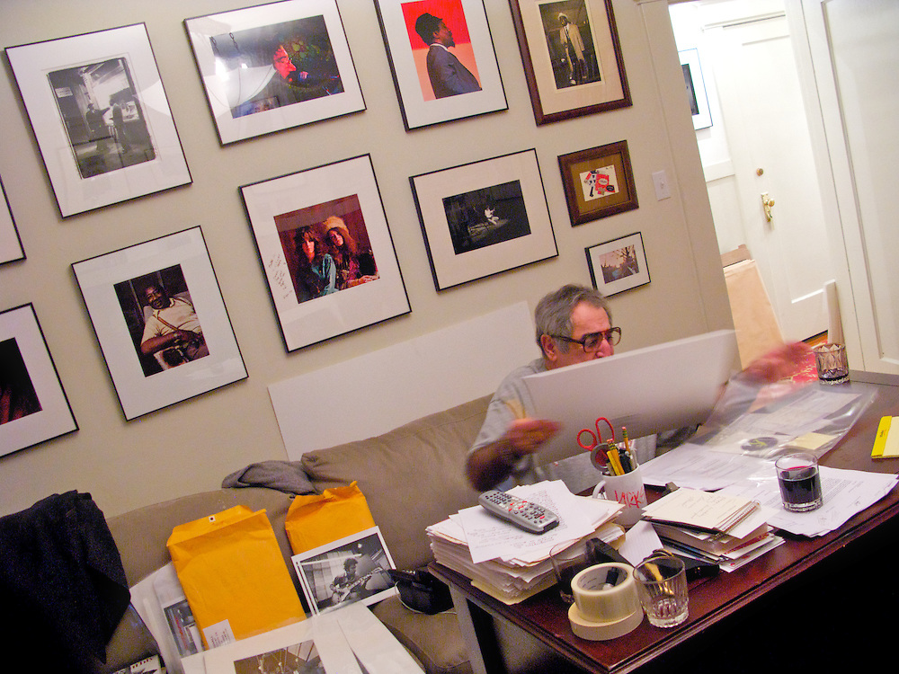 Rock and Roll photographer Jim Marshall in the living room of his San Francisco home. Marshall sells and sells prints from his collection, and personally signs each one.