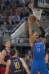 October 5, 2016 - Barcelona, Catalonia, Spain - Joffrey Lauverge in action during the NBA Global Games match between FC Barcelona and Oklahoma City Thunder at Palau Sant Jordi in Barcelona, Spain on October 5, 2016. (Credit Image: © Miquel Llop/NurPhoto via ZUMA Press)