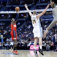 08 March 2017: Washington Wizards guard John Wall (2) takes a jump shot over Denver Nuggets center Mason Plumlee (24) during the Washington Wizards 123-113 victory over the Denver Nuggets, at the Pepsi Center, Denver, Colorado, USA.