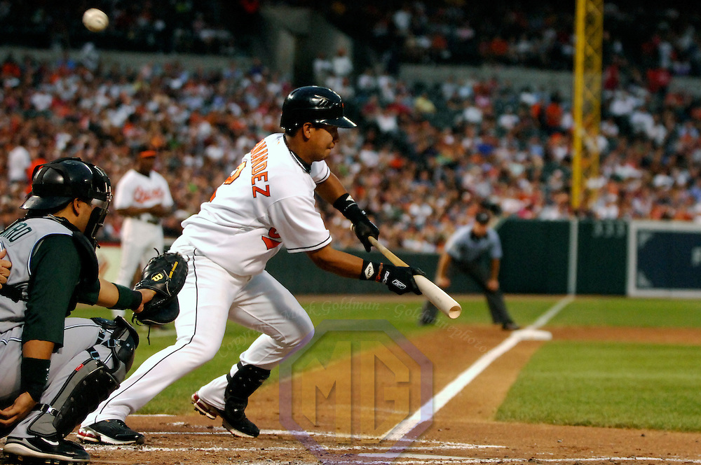 24 July 2007:  Baltimore Orioles shortstop Luis Hernandez (2) fouls off a sacrifice bunt attempt in the 5th inning against Tampa Bay Devil Rays pitcher Scott Kazmir.  The Orioles defeated the Devil Rays 3-0 at Camden Yards in Baltimore, MD.   ****For Editorial Use Only****