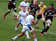 Chris Cook releases the ball for Bath. Stade Toulousain v Bath, European Champions Cup 2015, Stade Ernest Wallon, Toulouse, France, 18th Jan 2015.