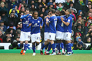 Picture by Paul Chesterton/Focus Images Ltd.  07904 640267.18/02/12.Sean St. Ledger of Leicester opens the scoring and celebrates during the FA Cup Fifth Round match at Carrow Road stadium, Norwich.