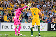 March 28 2017: Socceroos Milos DEGENEK (2) congratulates Socceroos Mathew RYAN (1) for his save at the 2018 FIFA World Cup Qualification match, between The Socceroos and UAE played at Allianz Stadium in Sydney.