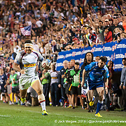 The United States beat Canada 20-0 in the Cup Quarter Final of the 2015 USA Sevens leg of the HSBC Sevens World Series (Round 5) at Sam Boyd Stadium in Las Vegas, Nevada. Saturday February 14, 2015.<br /> <br /> COPYRIGHT &copy; JACK MEGAW, 2015. <br /> <br /> www.jackmegaw.com