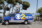LOS ANGELES - MAY 30:  A television news truck is parked outside the stadium for the game between the Colorado Rockies and the Los Angeles Dodgers on Monday, May 30, 2011 at Dodger Stadium in Los Angeles, California. The Dodgers won the game 7-1. (Photo by Paul Spinelli/MLB Photos via Getty Images)