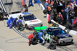 March 23, 2019 - Martinsville, VA, U.S. - MARTINSVILLE, VA - MARCH 23:   #44: Reid Wilson, Niece Motorsports, Chevrolet Silverado TruNorth/Paul Jr. Designs and #33: Daniel Sasnett, Reaume Brothers Racing, Toyota Tundra Reaume Brothers Racing pit their trucks during the 21st running of the NASCAR Gander Outdoors Truck Series TruNorth Global 250 race on March 23, 2019 at the Martinsville Speedway in Martinsville, VA.  (Photo by David John Griffin/Icon Sportswire) (Credit Image: © David J. Griffin/Icon SMI via ZUMA Press)