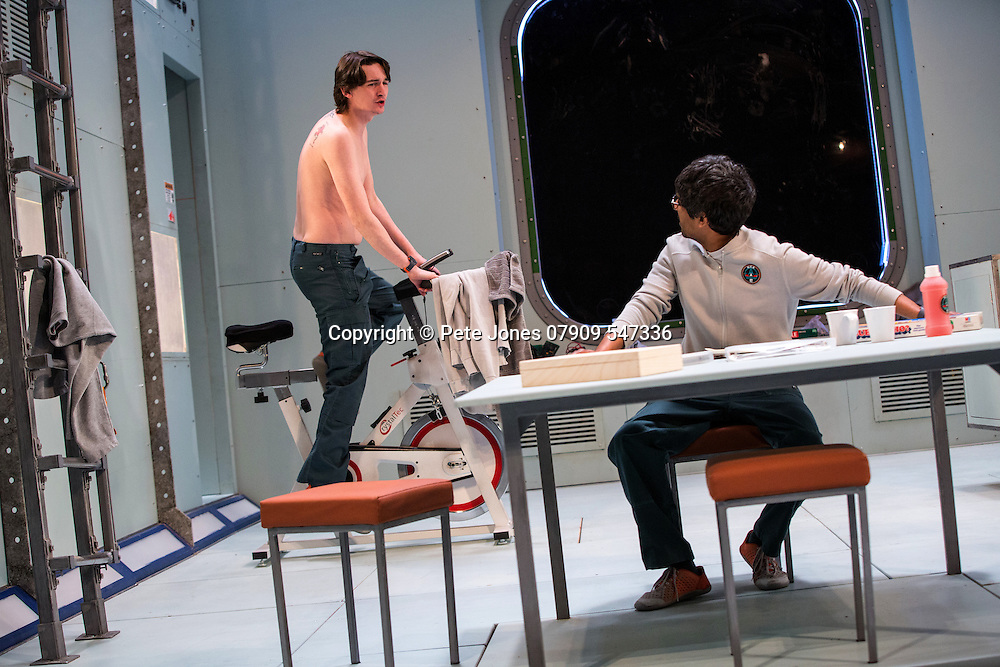 """X"" by Alistair McDowell;<br /> Directed by Vicky Featherstone;<br /> James Harkness as Clark;<br /> Rudi Dharmalingham as Cole;<br /> 1 April 2016;<br /> Jerwood Theatre Downstairs, Royal Ct, London, UK"