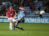 Photo: Rich Eaton.<br /> <br /> Coventry City v Bristol City. The FA Cup. 16/01/2007. Scott Murray left of Bristol scores the first goal  of the game from outside the box past Michael Doyle of Coventry