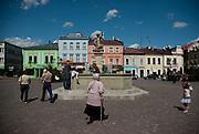 The main square in the town of Skoczów, Silesia, Poland.