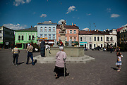 The main square in the town of Skoczów, Silesia, Poland.