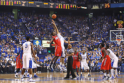 Ole Miss forward Terrance Henry, left, jumps for the first possession with UK forward Anthony Davis. UK hosted Ole Miss Saturday, Feb. 18, 2012 at Rupp Arena in Lexington . Photo by