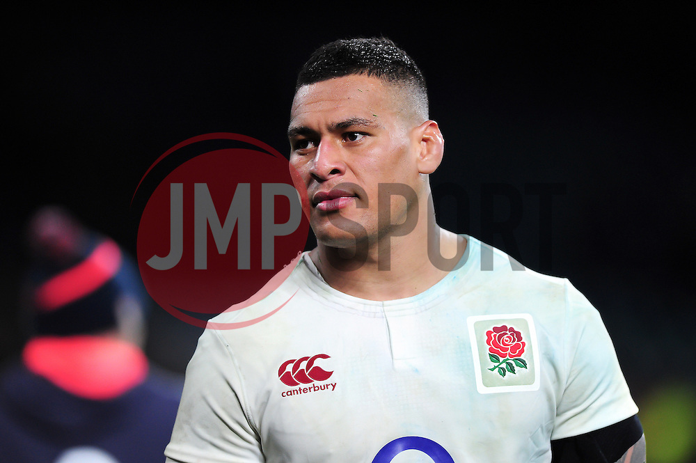 Nathan Hughes of England looks on after the match - Mandatory byline: Patrick Khachfe/JMP - 07966 386802 - 04/02/2017 - RUGBY UNION - Twickenham Stadium - London, England - England v France - RBS Six Nations Championship 2017.
