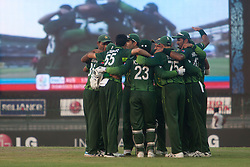 ©London News Pictures. 19/03/2011.Pakistan in team huddle after getting Australia all out for 176 at R.Premadasa Stadium Colombo Sri Lanka