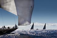FRANCE, St Tropez. 30th September 2013. Voiles de St Tropez. J Class yacht Shamrock V (K3) sails downwind as Wally Centro's Hamilton (left) and Magic Carpet 3 sail upwind.