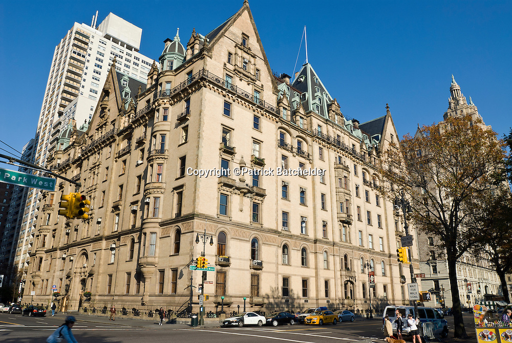 The Dakota Apartment Building (1884), 72nd Street at Central Park West, new York City. Declared a National Historic Landmark in 1976.