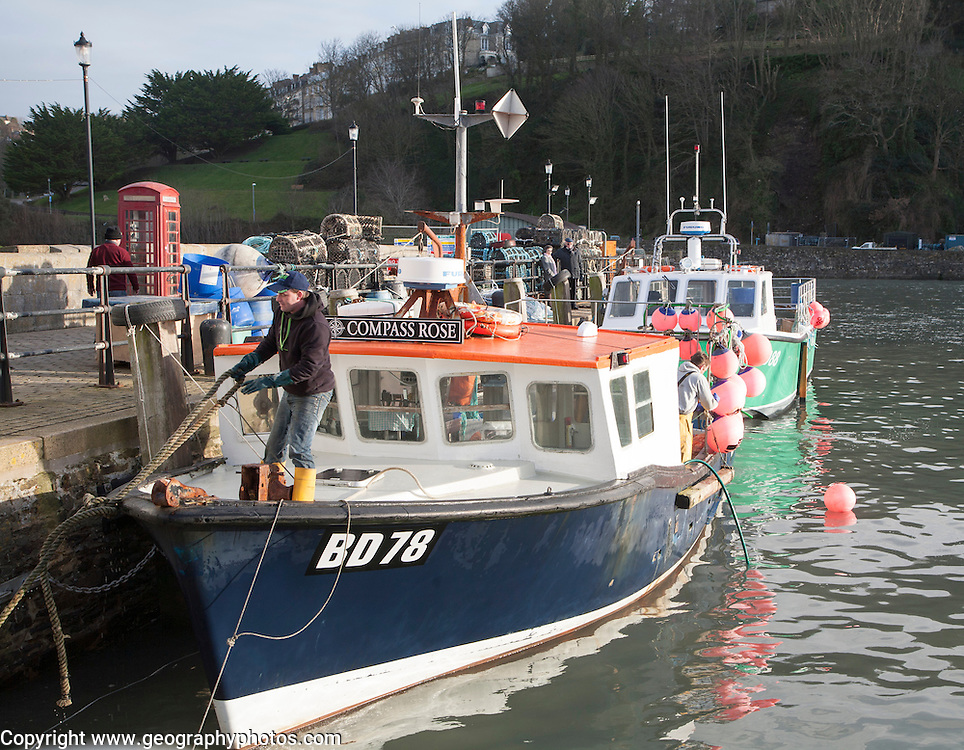 Small fishing boats in the harbour at Ilfracombe, north Devon, England