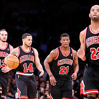 09 February 2014: Chicago Bulls center Joakim Noah (13), Chicago Bulls point guard D.J. Augustin (14), Chicago Bulls shooting guard Jimmy Butler (21), Chicago Bulls power forward Taj Gibson (22), are seen during the Chicago Bulls 92-86 victory over the Los Angeles Lakers at the Staples Center, Los Angeles, California, USA.