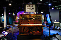 John Lenon's piano and sketch on display at The Rock and Roll Hall of Fame Annex in New York City..(Photo by Robert Caplin)..
