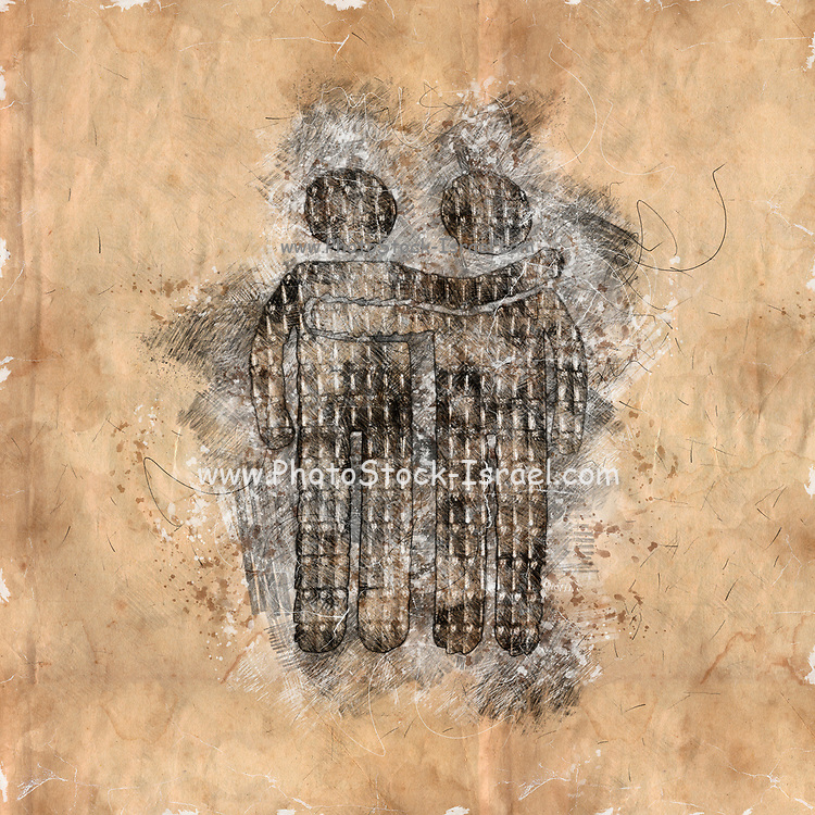 Digitally enhanced image of a sketch of two male figures hugging with an arm around the other man.  Photograph of Pedestrian lights at a zebra crossings in Vienna Austria