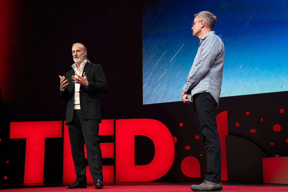 Victor Vescovo and David Biello speak at TED2019: Bigger Than Us. April 15 - 19, 2019, Vancouver, BC, Canada. Photo: Bret Hartman / TED