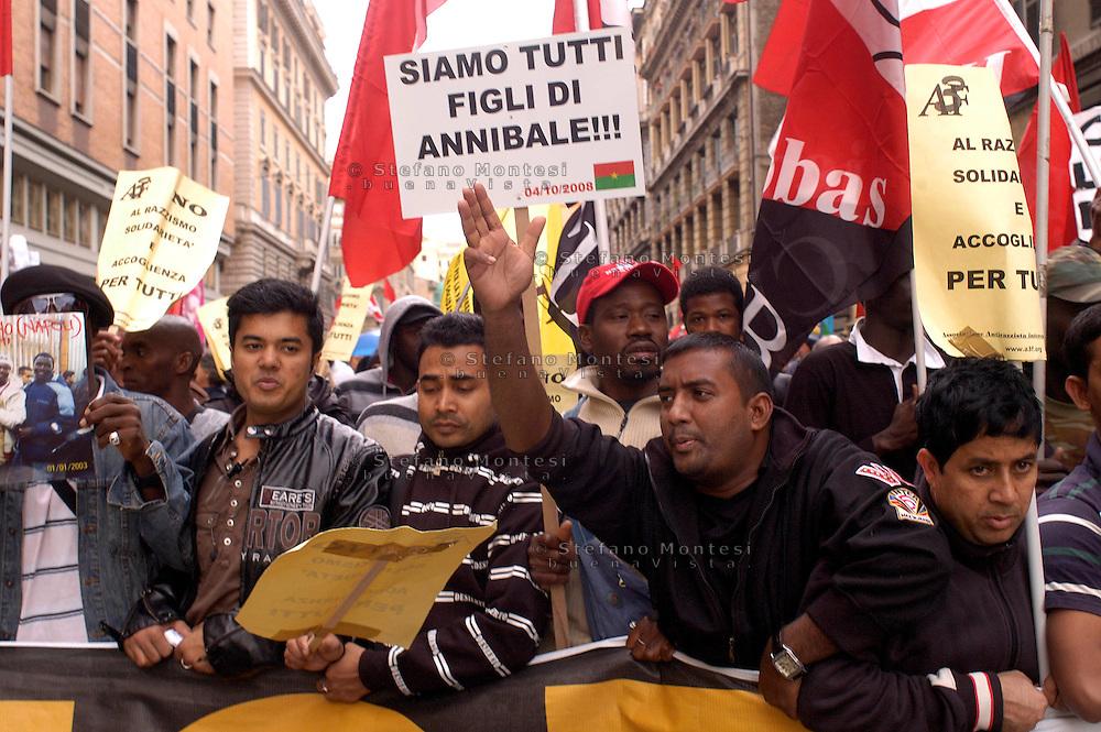 Roma 4 Ottobre 2008.Manifestazione Nazionale contro il Razzismo.Rome, October 4, 2008.National Demonstration Against Racism