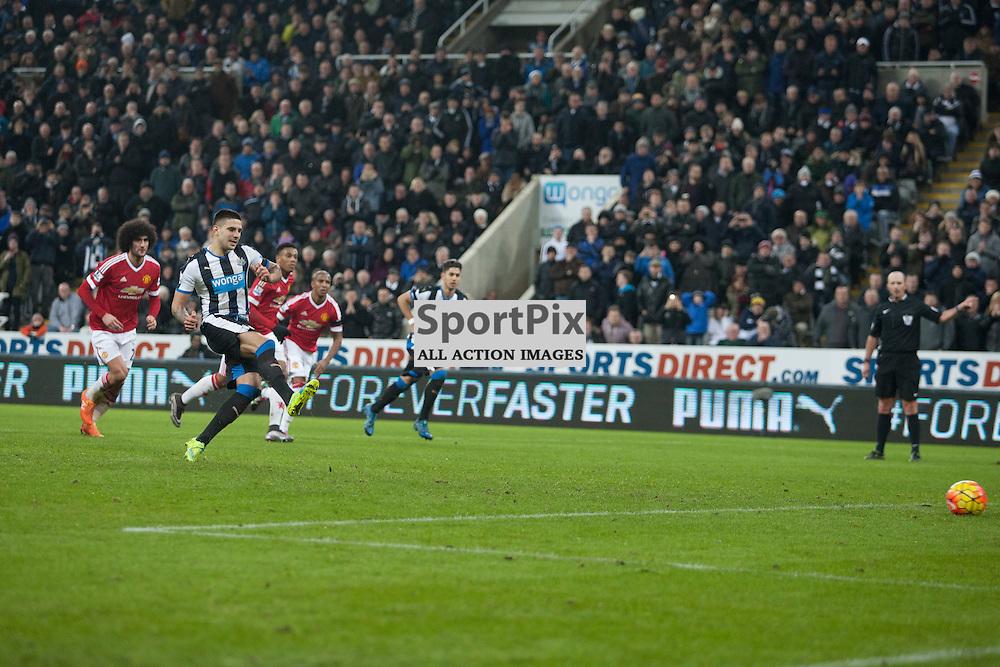 Newcastle v Manchester Utd 12 January 2016<br />Mitrovic scores<br />(c) Russell G Sneddon / SportPix.org.uk
