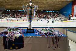 Trophy and medals during ice-hockey match between HK Acroni Jesenice and HDD Tilia Olimpija in fourth game of Final at Slovenian National League, on April 8, 2011 at Dvorana Podmezaklja, Jesenice, Slovenia. (Photo By Matic Klansek Velej / Sportida.com)