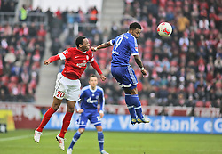 16.02.2013, Coface Arena, Mainz, GER, 1. FBL, 1. FSV Mainz 05 vs FC Schalke 04, 22. Runde, im Bild v.l.: Junior Diaz (MZ) gegen Michel Bastos (S04) // during the German Bundesliga 22th round match between 1. FSV Mainz 05 and FC Schalke 04 at the Coface Arena, Mainz, Germany on 2013/02/16. EXPA Pictures © 2013, PhotoCredit: EXPA/ Eibner/ Matthias Neu ***** ATTENTION - OUT OF GER *****