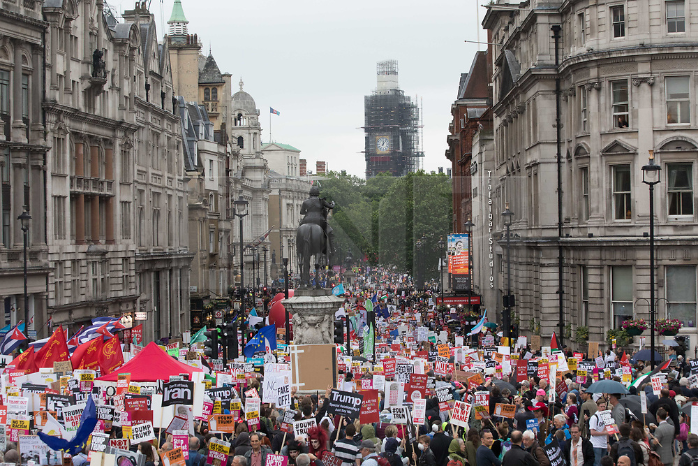 © Licensed to London News Pictures. 04/06/2019. London, UK. Crowds gather in Trafalgar square and along Whitehall this morning ahead of a protest against President Donald Trumps state visit to the UK. Photo credit: Joe Newman/LNP