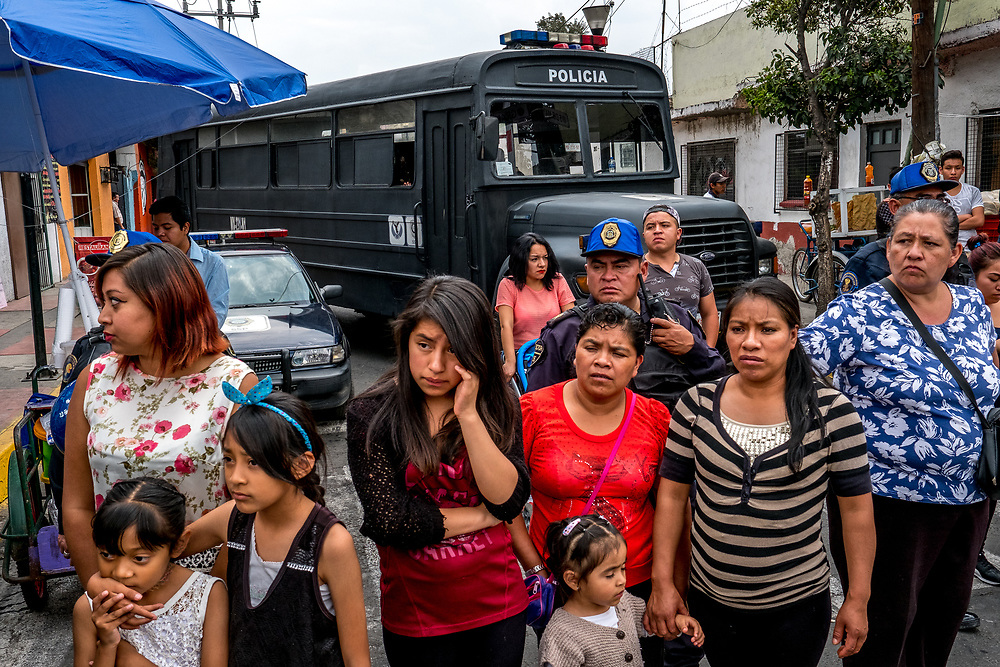 With an estimated 2-4 million spectators lining Iztapalapa's streets for the procession, a heavy police presence is needed to control the crowds.